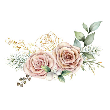 Watercolor Christmas card with pink and golden roses. Hand painted floral vintage flowers, seeds and branches isolated on white background. Holiday illustration for design, print or background.