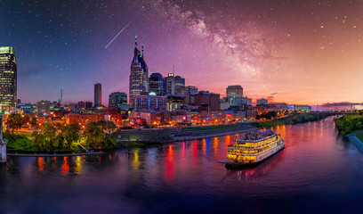 Fototapete - Nashville Skyline with Milky Way Galaxy