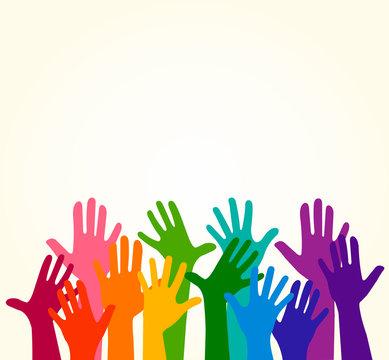 Colorful up hands. Vector illustration, an association, unity, partners, company, friendship, friends background Volunteers celebration birthday celebration, dancing, disco dance joy fun corporate