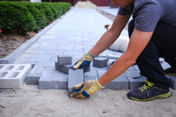 The master in yellow gloves lays paving stones in layers. Garden brick pathway paving by professional paver worker. Laying gray concrete paving slabs in house courtyard on sand foundation base. Fototapete