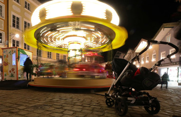 A children's merry-go-round at the Christmas market in Bad Toelz