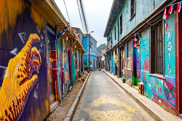 Acrylic Prints Narrow alley Colorful street art in the streets of Valparaiso, Chile