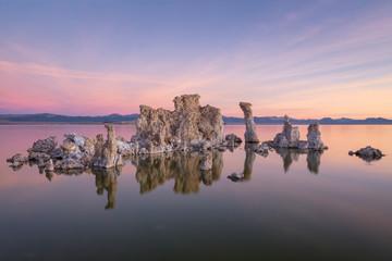 Tufa reflection at Mono lake, California