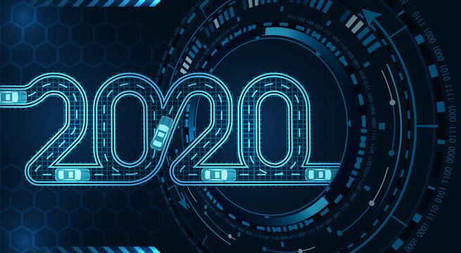 2020 inscription. Stylized under the road theme. Car service. Diagnostics GUI. Top view on cars. illustration