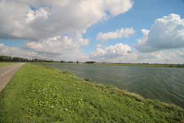 Rowing lane at the Water for the Eendragtspolder from river Rotte. This polder is used to store 4 million liters water to prevent flooding of Rotterdam