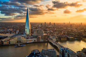 Printed roller blinds London Aerial view of London at sunset