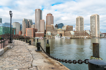 View Boston waterfront on a party cloudy autumn day