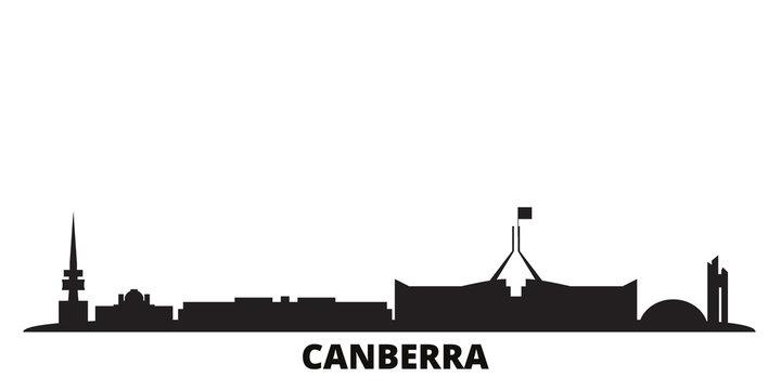 Australia, Canberra city skyline isolated vector illustration. Australia, Canberra travel cityscape with landmarks