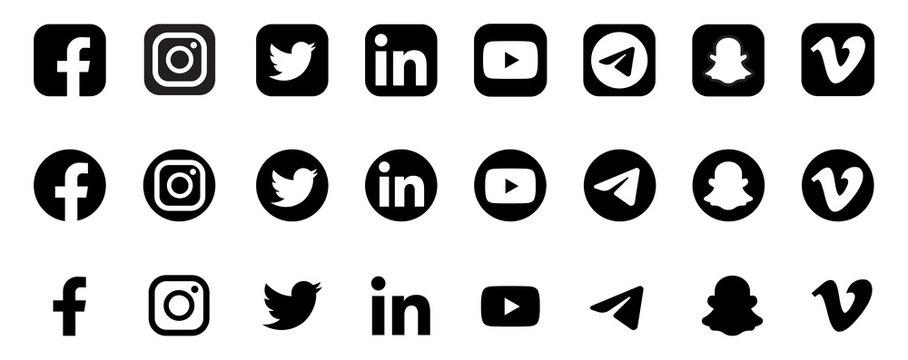 Realistic social media logotype collection: Facebook, instagram, twitter, youtube, linkedin, snapchat, telegram, vimeo. Social media icons. - stock vector editorial.
