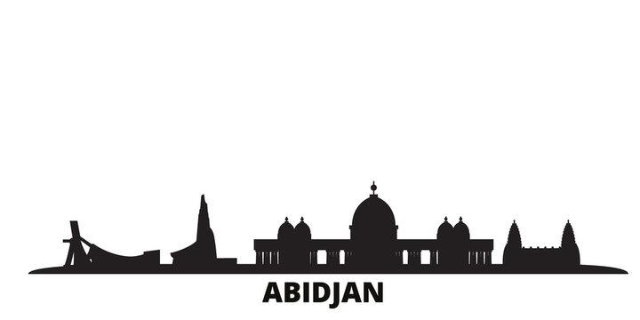 Cote Divoire, Abidjan city skyline isolated vector illustration. Cote Divoire, Abidjan travel cityscape with landmarks