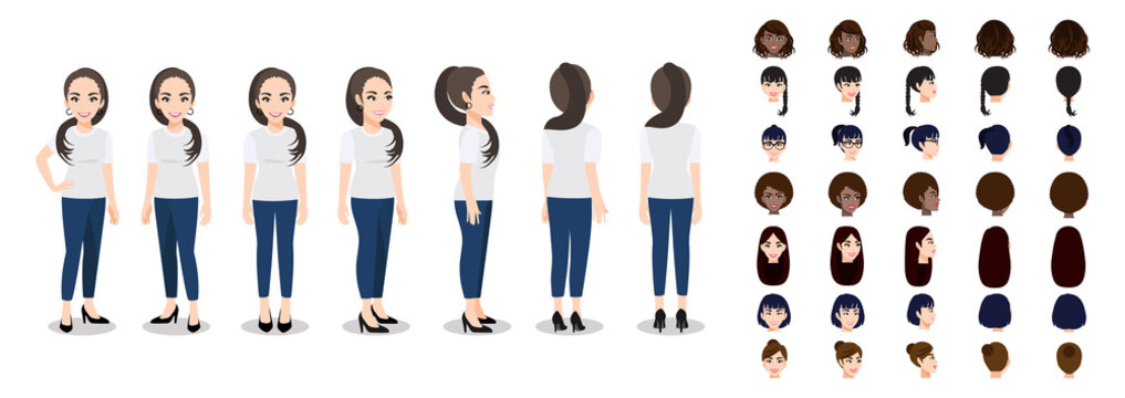 Cartoon character with a woman in T-shirt white casual for animation. Front, side, back, 3-4 view character. Set of female head and flat vector illustration.