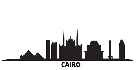 Egypt, Cairo city skyline isolated vector illustration. Egypt, Cairo travel cityscape with landmarks Papier Peint