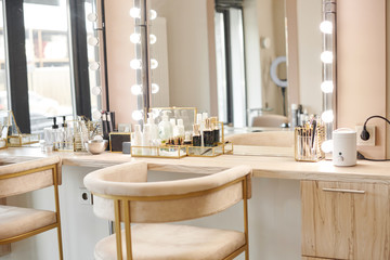 Dressing room interior with makeup mirror and table. Place for applying makeup Wall mural