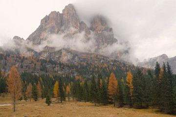 Recess Fitting Gray traffic Alpine autumn landscape in the Dolomites, Italy, Europe