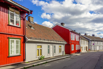 Colorful wooden houses in Oslo, Norway Fototapete