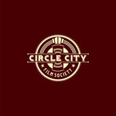 Foto auf Leinwand Braun Circle city film society logo emblem is formed from circle stadium monument with modern vintage style. Flat design, Logo design template. -Vector