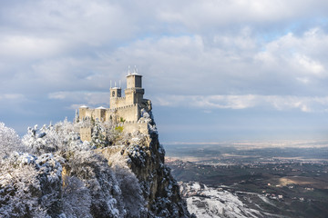 View of the first tower of San Marino with snow. Wall mural