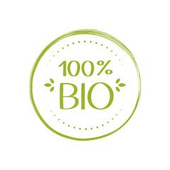 Fototapeta 100 percent Bio label. Natural, organic, fresh, food sticker. Vector graphic design obraz