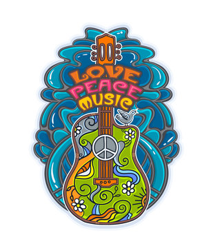 hippie musical poster with guitar