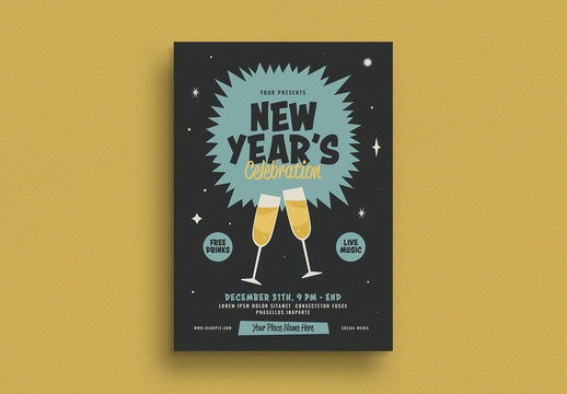 Retro New Year's Event Flyer Layout