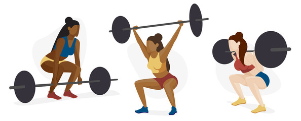 Female Weight Lifter Character Set, Strength Training, Body Building, Diversity Concept