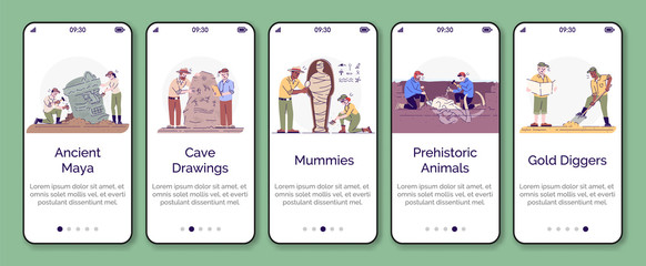 Archeology onboarding mobile app screen vector template. Paleontology and history of civilization. Walkthrough website steps with flat characters. UX, UI, GUI smartphone cartoon interface concept