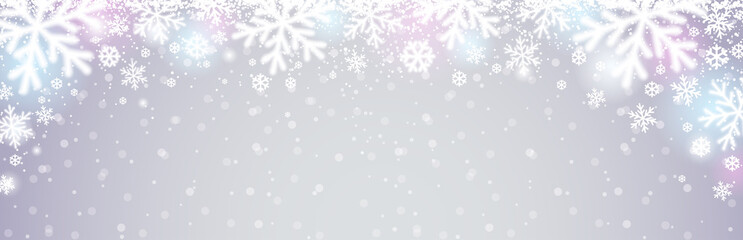 Wall Mural - Grey christmas banner with white blurred snowflakes. Merry Christmas and Happy New Year greeting banner. Horizontal new year background, headers, posters, cards, website. Vector illustration