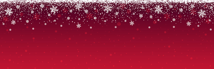 Wall Mural - Red christmas banner with snowflakes. Merry Christmas and Happy New Year greeting banner. Horizontal new year background, headers, posters, cards, website.Vector illustration