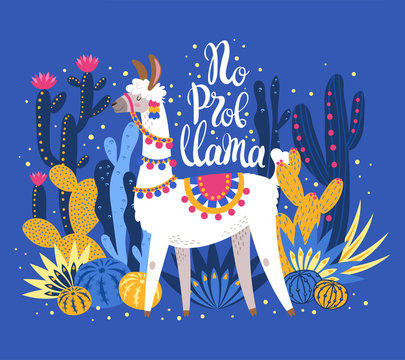 Illustration with llama and cactus plants. Vector pattern on botanical background. Greeting card with Alpaca. Composition on blue.