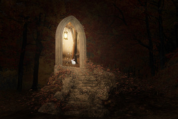 Fantasy image of a staircase pith a portal arch leading into a bright sunny day, 3d render.