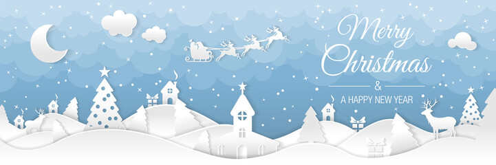 Fotorollo Weiß Winter christmas landscape with houses and trees. Merry christmas and happy new year. Santa claus sleigh in the night sky with stars. Vector paper and crafts art