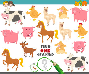 one of a kind game for kids with farm animals