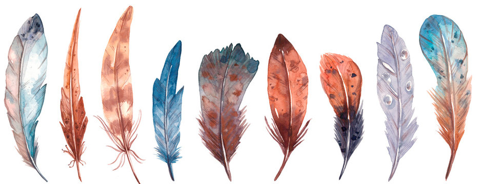 Cute watercolor textured feathers set. Hand drawn isolated on a white background.