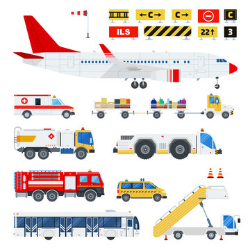 Airport transportation and Road signs at the airport vector flat material design set. Ambulance, fire engine, ladder on wheels, passenger bus, taxi, aircraft isolated on white.
