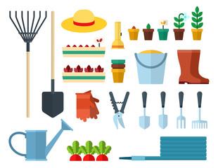 Set of Garden Equipment icons flat vector