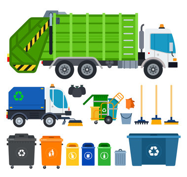 Set of Garbage truck icons flat vector