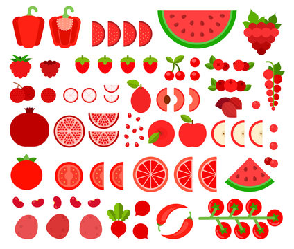 Set of Red Products icons flat vector