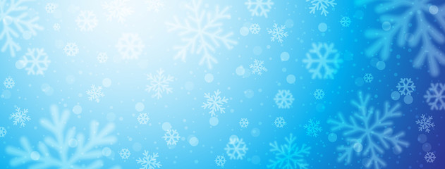Wall Mural - Bright blue christmas banner with blurred snowflakes. Merry Christmas and Happy New Year greeting banner. Horizontal new year background, headers, posters, cards, website. Vector illustration