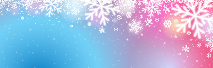 Wall Mural - Blue pink christmas banner with white blurred snowflakes. Merry Christmas and Happy New Year greeting banner. Horizontal new year background, headers, posters, cards, website. Vector illustration