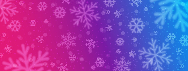 Wall Mural - Bright red blue christmas banner with blurred snowflakes. Merry Christmas and Happy New Year greeting banner. Horizontal new year background, headers, posters, cards, website. Vector illustration