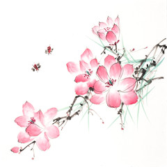 Chinese painting of blossoming magnolia tree with bees