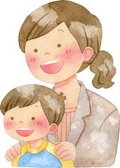 子供の肩に手を置くスーツ姿の女性