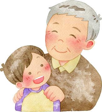 子供の肩に手を置くおじいさん