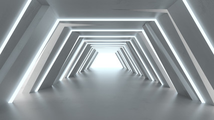 Futuristic tunnel with fluorescent lights 3D render
