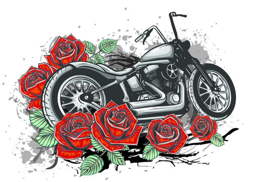 vector illustation vintage chopper motorcycle and roses poster