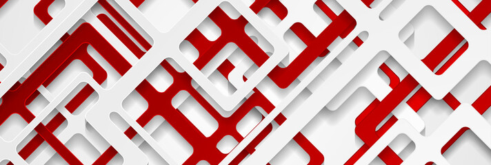 Red and grey papercut geometry banner design. Abstract tech background with 3d paper stripes layers. Vector illustration Fototapete