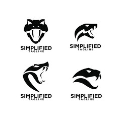 set of viper snake head logo icon design