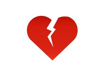broken heart sign. heart crack logo illustration