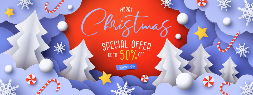 Christmas Sale Promotion banner with cute paper fir trees, snowdrifts, candy and stars in the clouds. Paper cut style. Winter holiday web Sale design, poster, party invitation, greeting card template