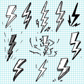 set of hand drawn vector doodle electric lightning bolt symbol sketch illustrations. thunder symbol doodle icon .
